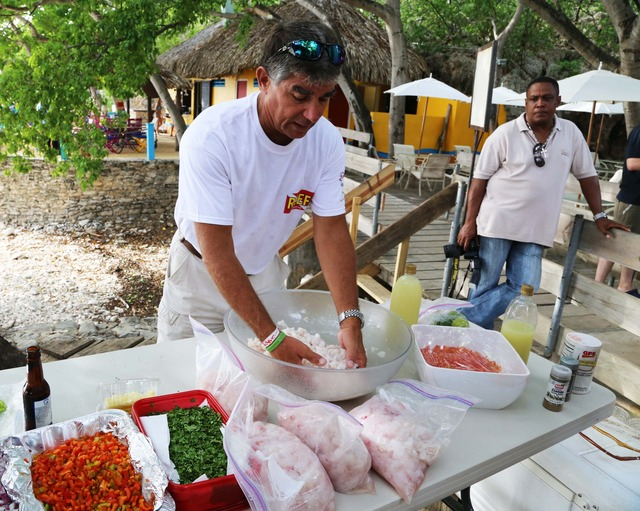 Chef Lad: Lad Akins, one of the authors of the Lionfish Cookbook, demonstrates the proper way to prepare ceviche. The recipe calls for tomatoes, scotch bonnet peppers, onions, limes, and cilantro.