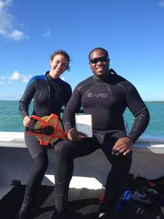 REEF Marine Conservation Interns Catie and Colin sporting their new BARE wetsuits in the field while collecting lionfish data.
