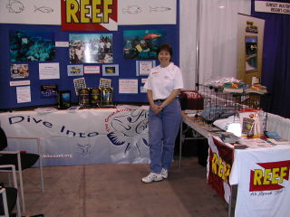 A Field Station hosts a REEF booth at a regional dive show.