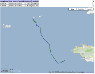 Tracks of three current drifters that were released at the Little Cayman West End aggregation site on 1/29/08, the night of Nassau grouper mass spawning.: Updated 02/21/08, click on image for a larger view.