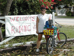 REEF Intern, Sarah Goldman, returns to REEF HQ after completing her 100-mile fundraiser ride.